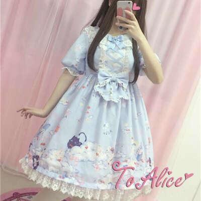 Blue Pastel Lolita Printing Dress SP179788