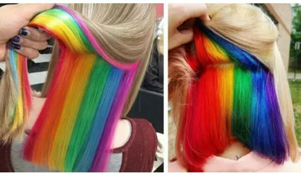 Скрытое окрашивание волос, радуга