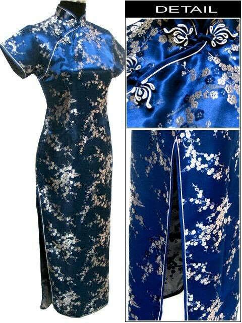 Navy Blue Chinese Female Satin Novelty Costume Socialite Elegant Long Cheongsam Qipao Size S M L XL XXL XXXL 4XL 5XL 6XL S035 I купить на AliExpress