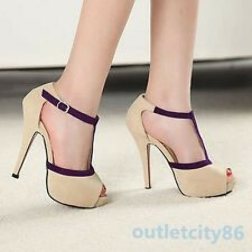 Sexy Vogue Women Peep Toe Pumps Stiletto Platform Buckle High Heels Shoes Sandal