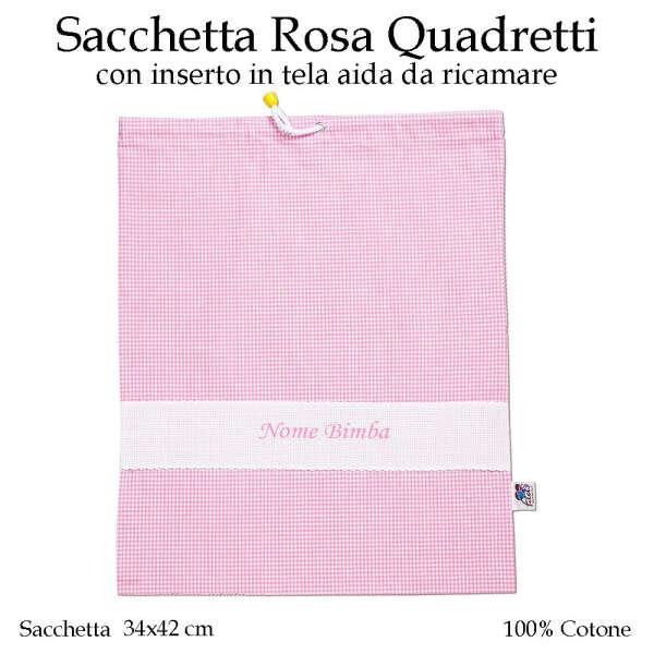 Sacchetta Scuola Materna Rosa Quadretti