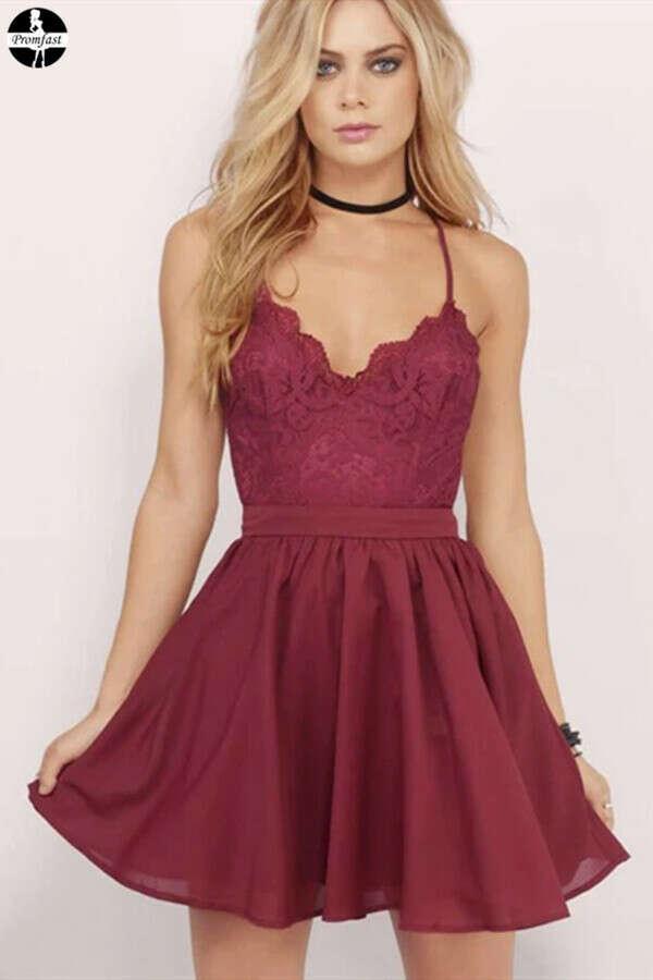 Promfast Burgundy Homecoming Dress Spaghetti Straps A-line Lace Short Prom Dress Party Dress PFH0323