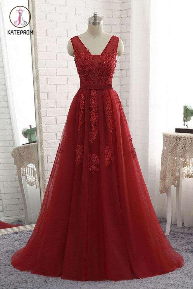 Cheap Floor Length Burgundy V Neck Evening Dress, Appliqued Long Tulle Prom Dress KPP0522