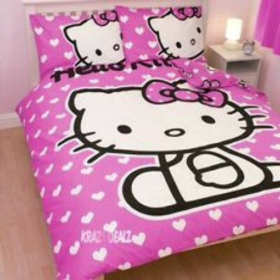 Hello Kitty Hearts DOUBLE Panel Duvet Cover Bed Set New Gift Pink
