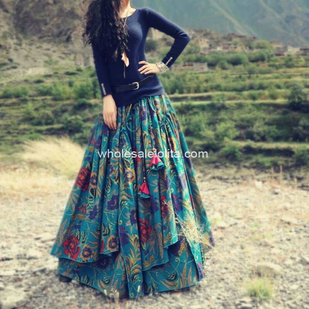 Long Flowing Thick Cotton Multicolor Print Skirt