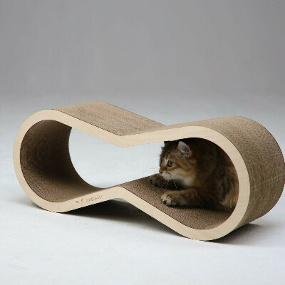 Когтеточка из картона Тумяу Айс с деревянным ободком, чистая береза