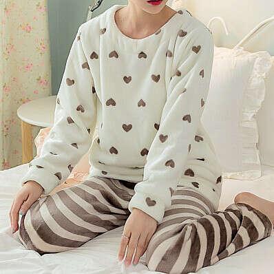 Пижама в полоску Hearts розовый/фиолетовый/коричневый :: Op Shop!