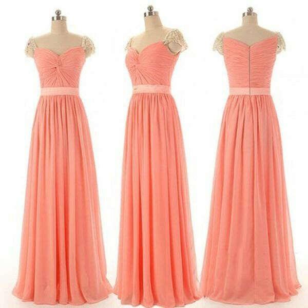 Beautiful Beading Cap Sleeve Sweet Heart Chiffon Inexpensive Long Bridesmaid Dresses, Simple Cheap Prom Dress, WG14