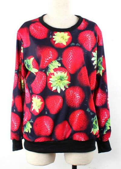 Lady Style Round Neck Long Sleeve Strawberry Print Sweats