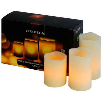 Набор из 3 крупных светодиодных свечей-светильников, покрытых воском