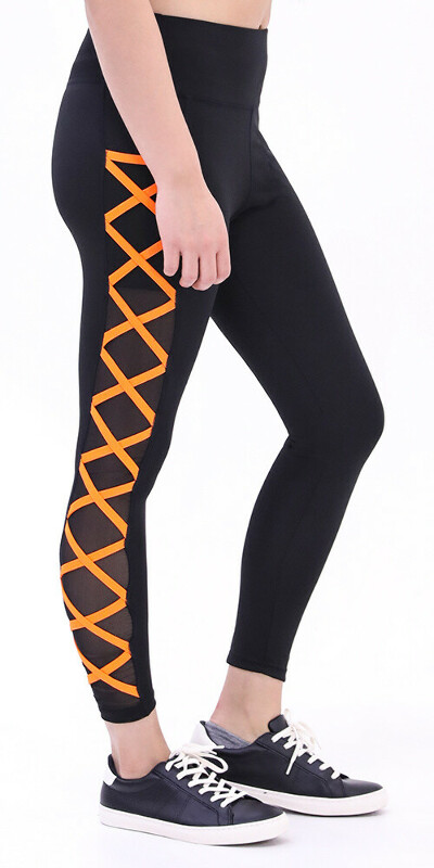 High Waisted Black Tight with Orange Criss-Crossing Side-Mesh Panel - Leggings Park