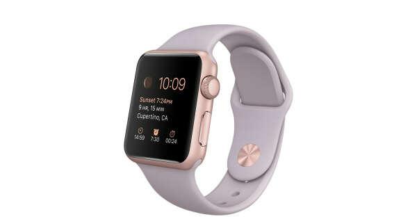 Apple Watch Sport - Корпус 38мм изалюминия цвета «розовоезолото», сиреневый спортивный ремешок