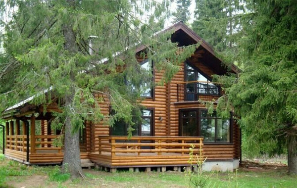 деревянный дом в лесу
