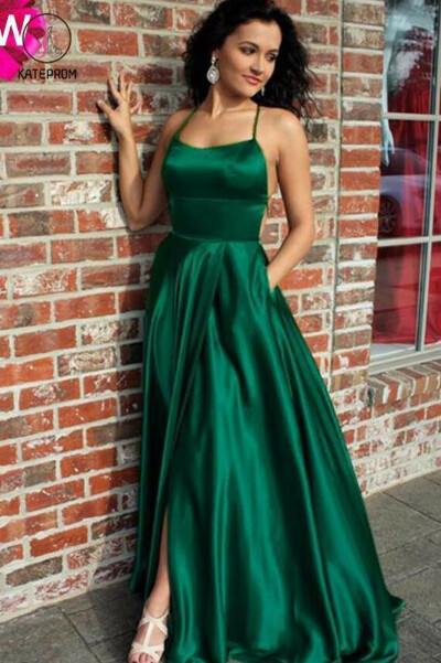Emerald Green Spaghetti Strap Split Prom Dress, Sexy Long Evening Dress with Slit KPP0566