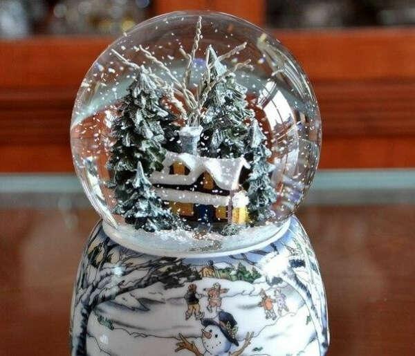 Большой новогодний шарик со снегом.
