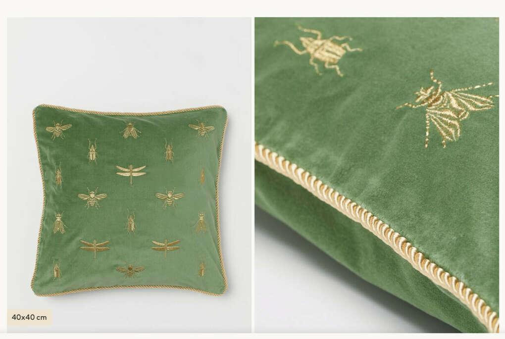 Чехол на подушку с вышивкой HM