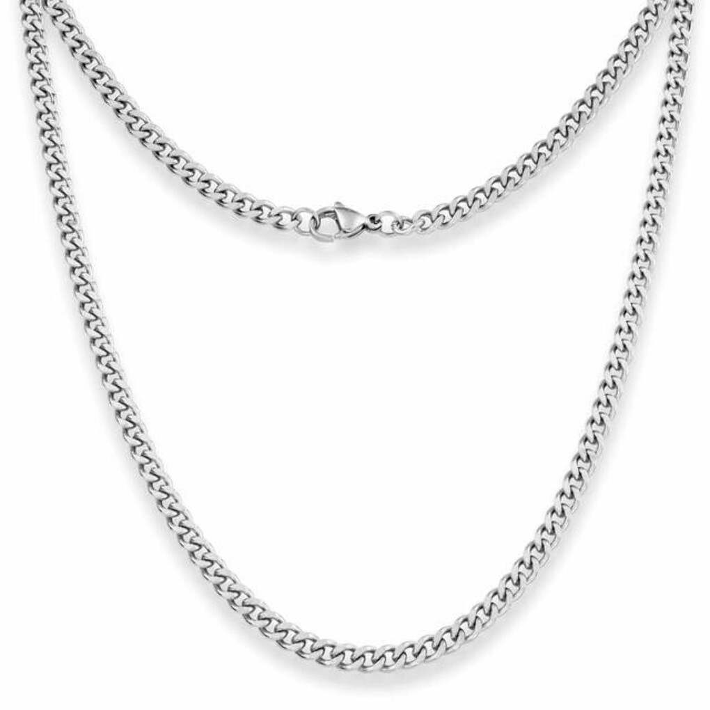 4mm Curb Mens Necklace - Silver Chain Stainless Steel Jewellery (08)