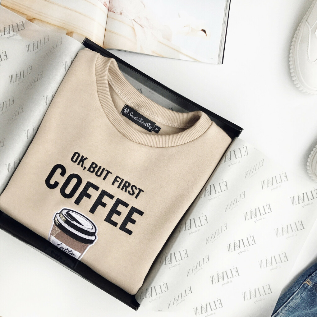 Свитшот Ok, but first COFFE, Elivan shop