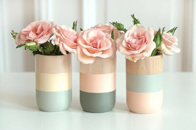 Natural Wooden Vases for flowers and more - Home Decor - Set of 3 - Mothers day gift