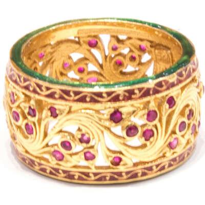 Enamel, Gold and Rubies Italian Ring
