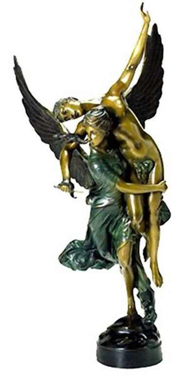 Winged Lady Carrying a Naked Man Bronze Sculpture