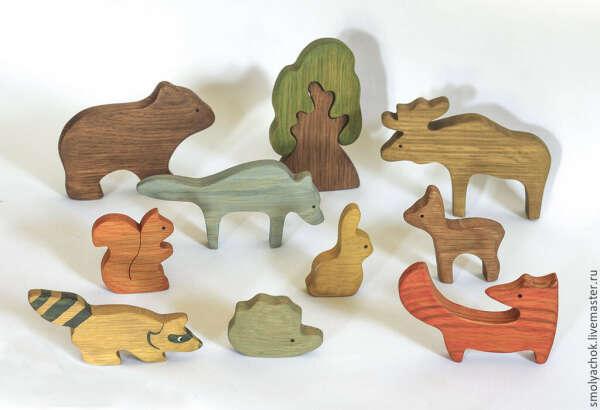 Лесные звери. Набор для игры. Деревянные развивающие игрушки в интернет магазине на Ярмарке Мастеров