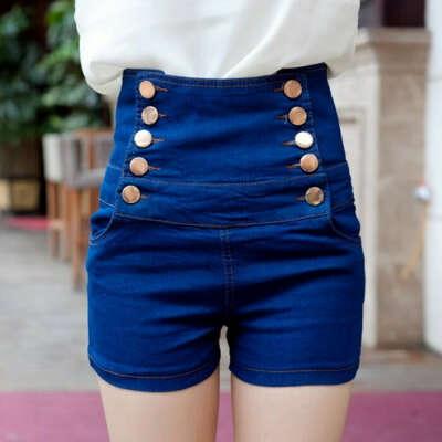 джинсовые завышенные шорты