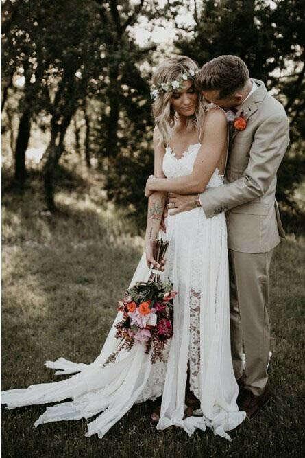 Sheath Spaghetti Straps Backless Hi-Low Lace Boho Beach Wedding Dress PFW0355