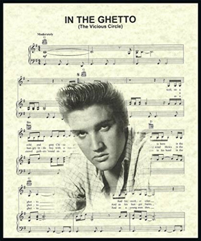 Ready Prints In The Ghetto by Elvis Presley Music Sheet Artwork Print Picture Poster Home Office Bedroom Nursery Kitchen Wall Decor - unframed