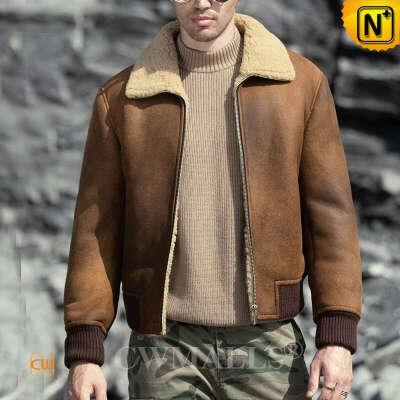 Men Sheepskin Jacket   Old School Sheepskin Bomber Jacket CW828326   CWMALLS®