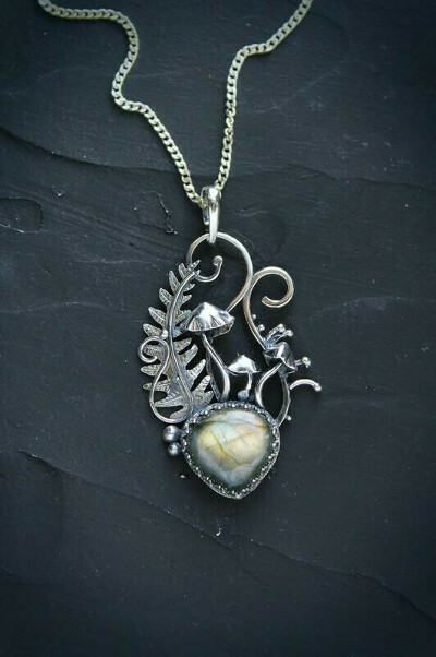 Серебряный женский кулон с лабрадоритом