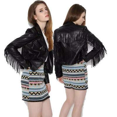 1641.04руб. 40% СКИДКА|Женская мотоциклетная куртка из искусственной кожи с бахромой и кисточками, осенне зимняя Байкерская верхняя одежда с длинным рукавом, черная куртка, женская уличная одежда|Кожаные куртки| | АлиЭкспресс