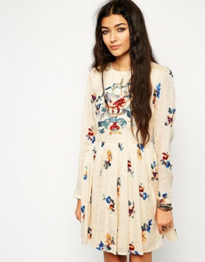 ASOS Premium Skater Dress in Jacquard with Embroidery