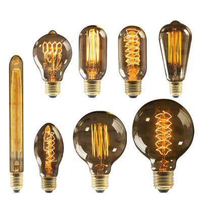 Edison Lighting Bulb E27 220V 40W ST64 G80 G95 G125 Ampoule Vintage Edison Bulb Incandescent Lamp Filament Light Bulb