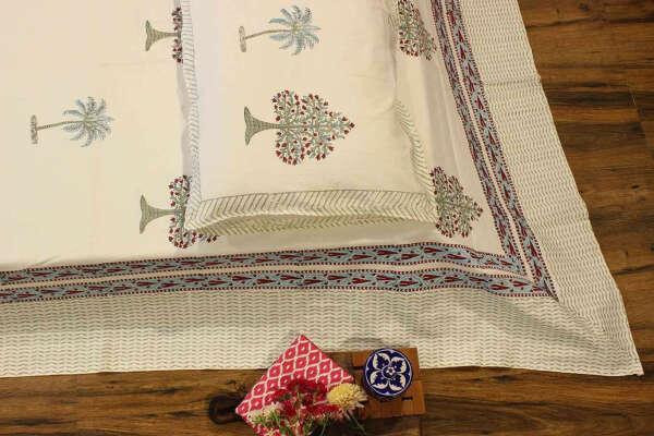 Lazy Palms Cotton Hand Block Print King Size Bedsheet