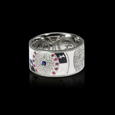 GODSFORGE | POLARIS кольцо из серебра с эмалью, рубинами и сапфиром