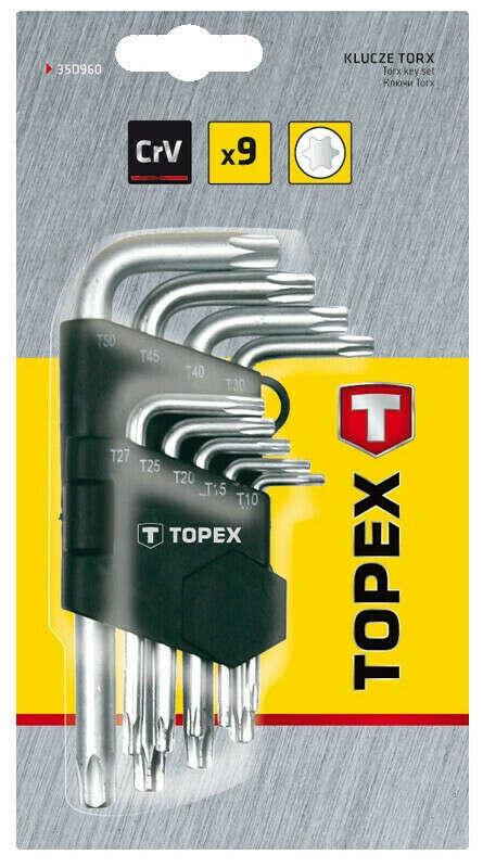 Ключи звездочки, Torx T10-T50, набор 9 шт, CR-V, (звезда, 6 лучей))