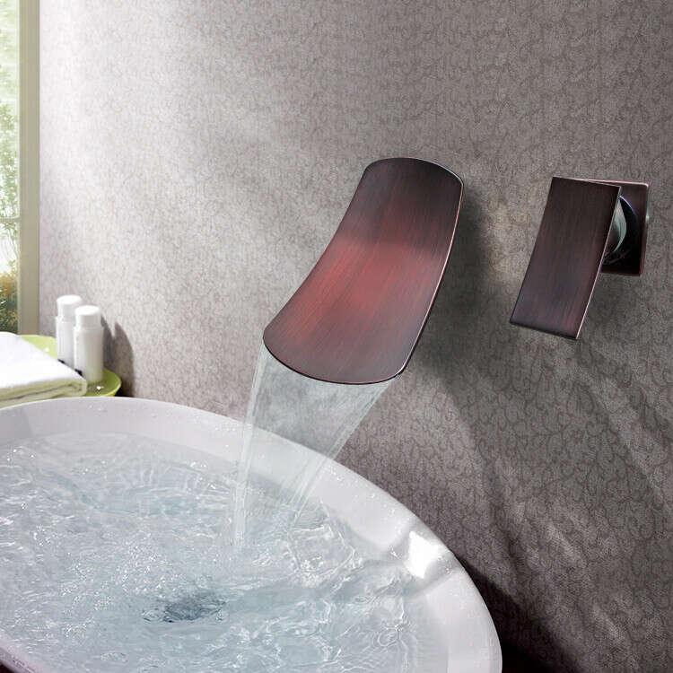 Antique ORB black bronze wall waterfall bathroom sink faucet At FaucetsDeal.com