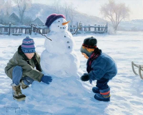 Слепить с друзьями снеговика