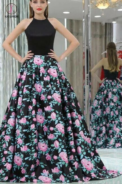 Black A-line Halter Sleeveless Floral Long Prom Dress,Elegant Prom Gown KPP0371