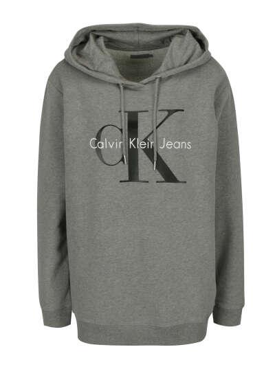 Calvin Klein Jeans | Šedá dámská mikina s kapucí a potiskem
