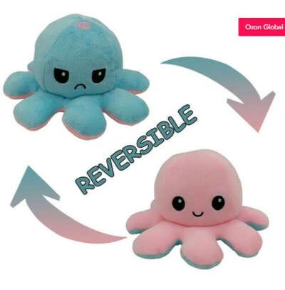 Двухсторонняя плюшевая игрушка-осьминог-флип