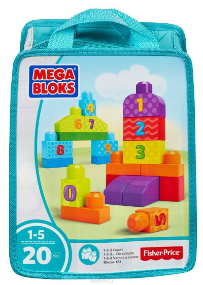 Mega Bloks First Builders Конструктор Учимся считать цвет бирюзовый — купить в интернет-магазине OZON.ru с быстрой доставкой