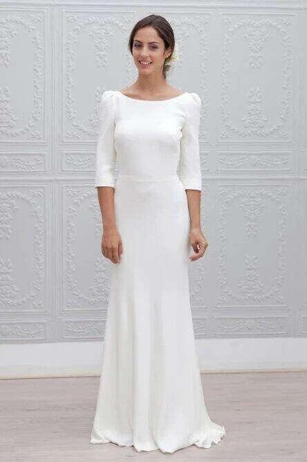 Simple Sheath Bateau Backless 3/4 Sleeves Sweep Train Beach Wedding Dress PFW0456