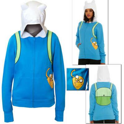 Adventure Time Hoodie Jake in Pocket Finn Backpack costume Junior Hooded Sweater