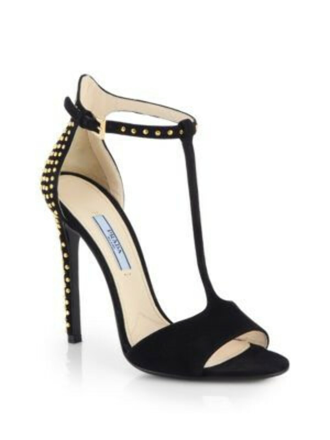 Prada - Studded Suede Ankle-Strap Sandals