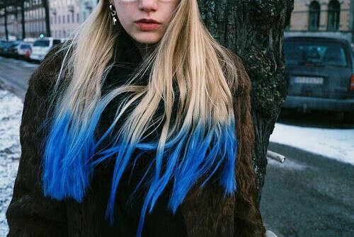 покрасить концы в синий цвет
