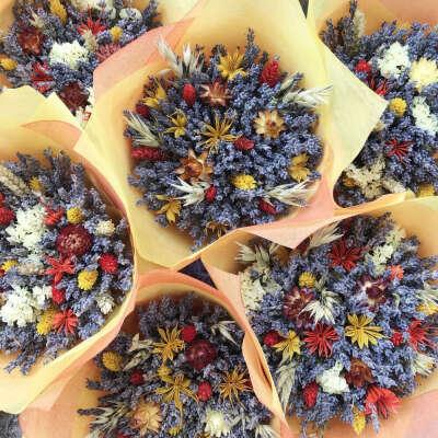 Осенний букет с лавандой и сухоцветами