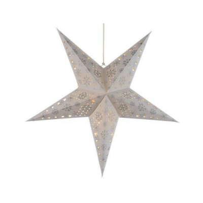 Звезда светящаяся из бумаги, 60 см, бело-серебряная (Kaemingk)