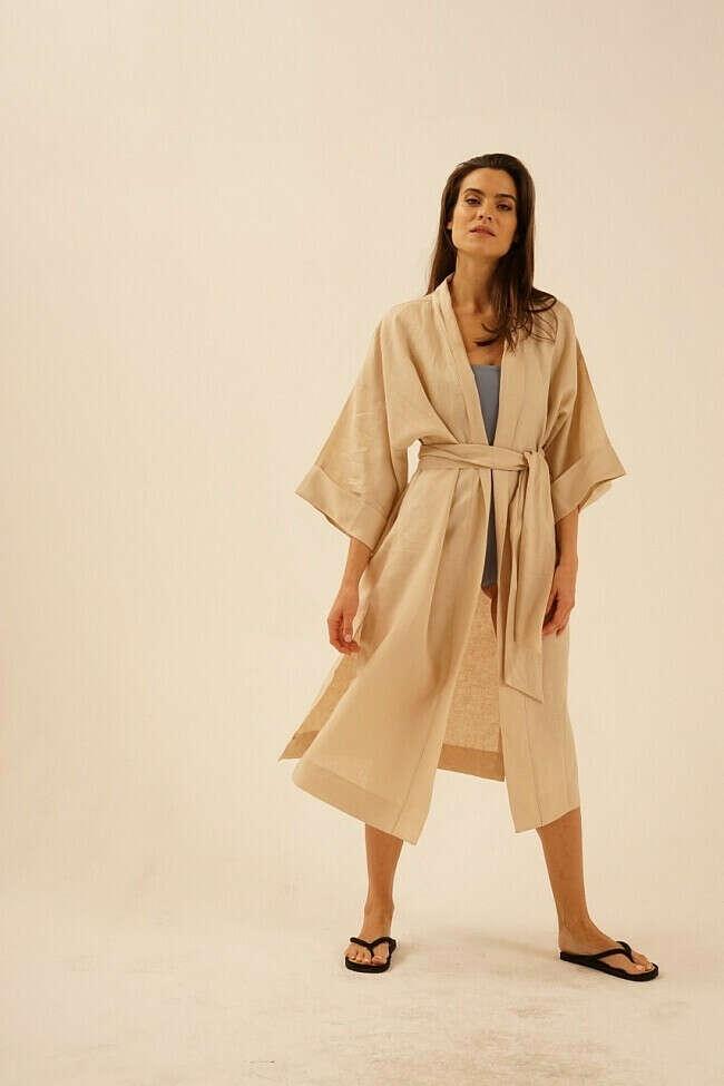 Льняное платье кимоно миди